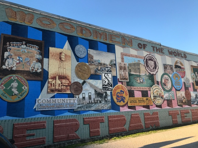 Woodman of the World mural in Bertram, Texas